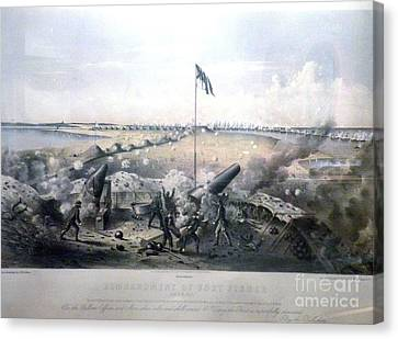 Bombardment Of Fort Fisher Canvas Print by Celestial Images