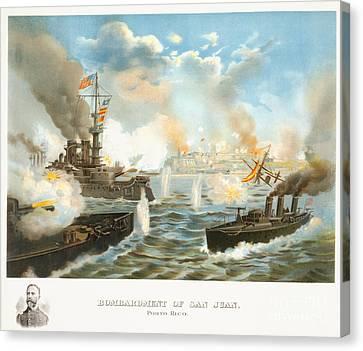 Bombardment Of San Juan - Porto Rico - 1898 Canvas Print by Pablo Romero