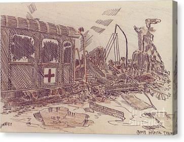 Ww Ii Canvas Print - Bombed Hospital Train Ww II by David Neace