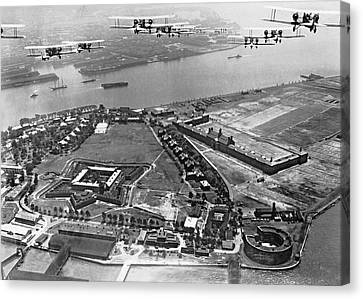 Bombers Over Governors Island Canvas Print by Underwood Archives