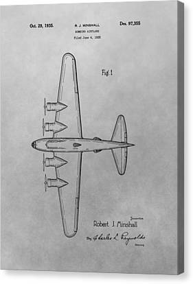Bombing Aircraft Patent Drawing Canvas Print by Dan Sproul