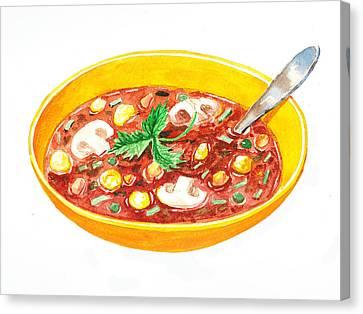 Bon Appetit A Bowl Of Soup Canvas Print