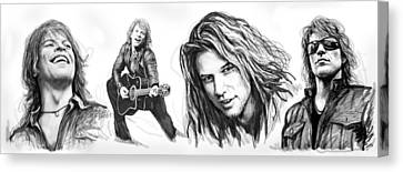 Drummer Canvas Print - Bon Jovi Art Drawing Sktech Poster by Kim Wang