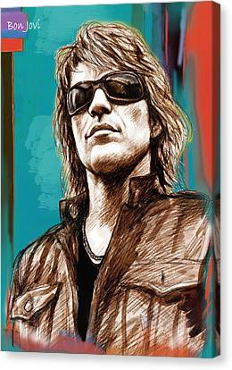 Bon Jovi Long Stylised Drawing Art Poster Canvas Print by Kim Wang