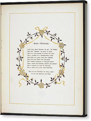 Bon Voyage. A Verse And Dedication Canvas Print by British Library