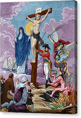 Bonaparte, Restorer Of Religion And Supporting The Cross, Allegory On The Concordat, 1802 Coloured Canvas Print by French School
