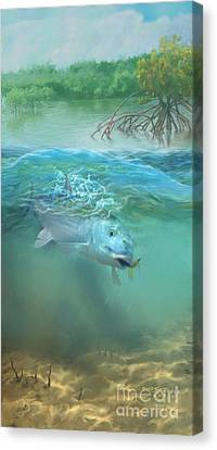 Canvas Print featuring the painting Bone Fish by Rob Corsetti