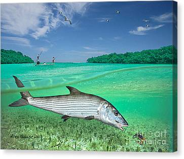 Bonefish Flat Canvas Print by Alex Suescun