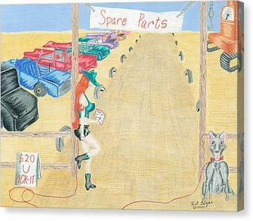 Boneyard Bitch Canvas Print by Heather Edgar