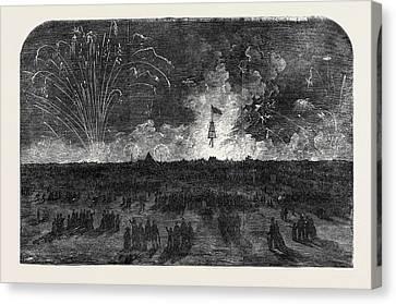 Bonfire And Fireworks On Blackheath Canvas Print by English School