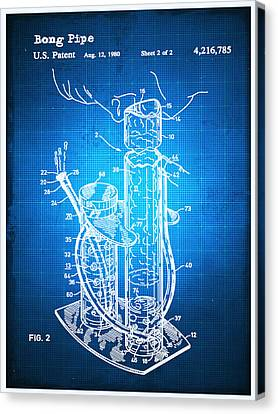 Technical Canvas Print - Bong Patent Blueprint Drawing by Tony Rubino