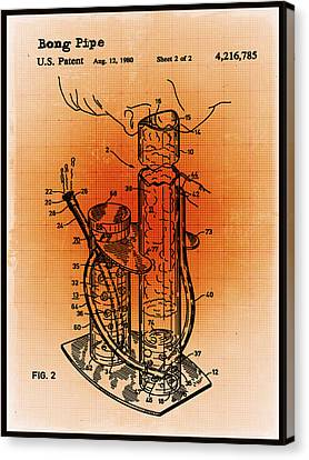 Technical Canvas Print - Bong Patent Blueprint Drawings Sepia by Tony Rubino