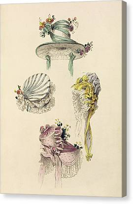 Purple Flowers Canvas Print - Bonnets For An Occasion, Fashion Plate by English School