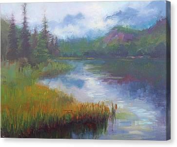 Bonnie Lake - Alaska Misty Landscape Canvas Print by Talya Johnson