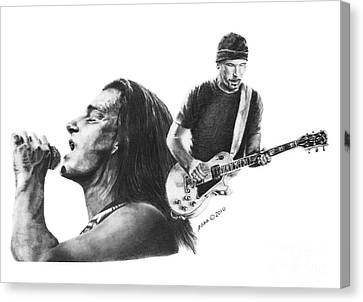 Canvas Print featuring the drawing Bono And The Edge by Marianne NANA Betts