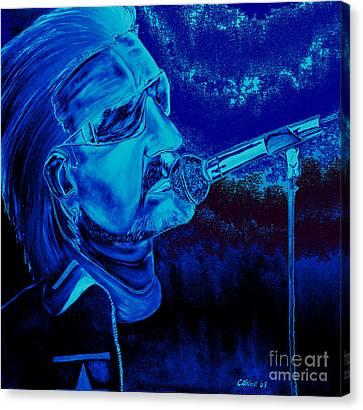 Bono In Blue Canvas Print by Colin O neill