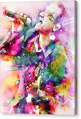 Bono Singing Canvas Print by Rosalina Atanasova