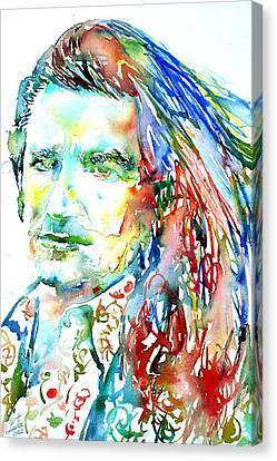 Bono Watercolor Portrait.2 Canvas Print by Fabrizio Cassetta