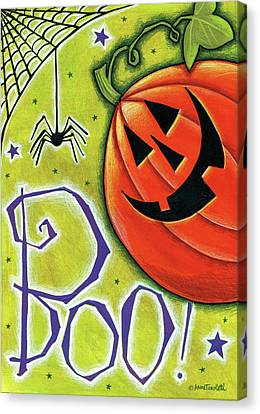Boo Pumpkin And Spider Canvas Print