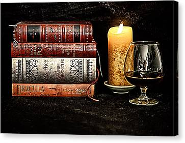 Books And Brandy Canvas Print by Jacque The Muse Photography