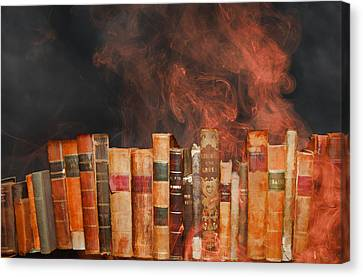 Book Burning Inspired By Fahrenheit 451 Canvas Print by John Haldane