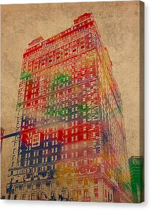Book Cadillac Iconic Buildings Of Detroit Watercolor On Worn Canvas Series Number 3 Canvas Print