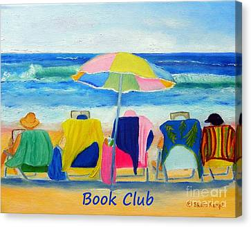 Book Club - Print Of Women Reading On The Beach Canvas Print