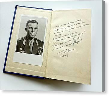 Book Signed By Yuri Gagarin Canvas Print