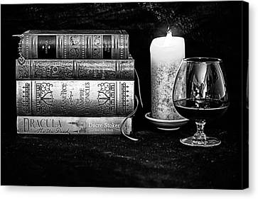 Books And Brandy Black And White Canvas Print by Jacque The Muse Photography