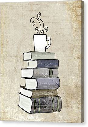 Books Canvas Print - Books And Coffee Print by Amy Cummings