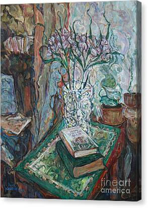 Books And Flowers Canvas Print by Anna Yurasovsky