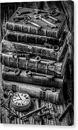 Book Collecting Canvas Print - Books And Keys Black And White by Garry Gay