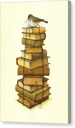 Books And Little Bird Canvas Print by Kestutis Kasparavicius