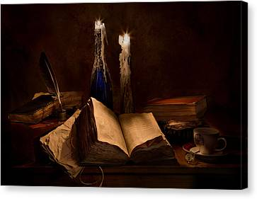 Books Candles And Coffee Cup Canvas Print by Mary Tomaino