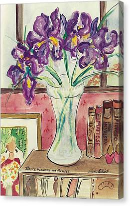 Canvas Print featuring the painting Books Flowers And Matisse by Elaine Elliott