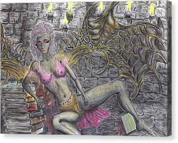 Canvas Print featuring the drawing Books Of Solitude. by Kenneth Clarke