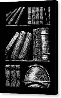 Books On Shelves Canvas Print