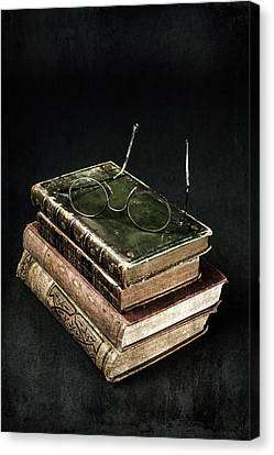 Reading Canvas Print - Books With Glasses by Joana Kruse