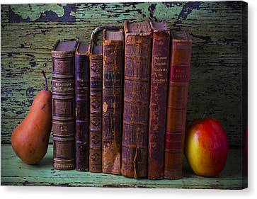 Books With Pear And Apple Canvas Print