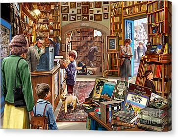 Writing Canvas Print - Bookshop by Steve Crisp