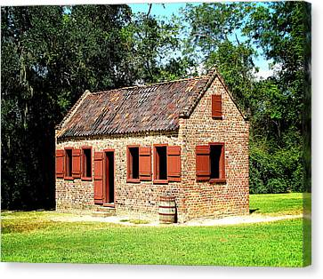 Canvas Print featuring the photograph Boone Hall Plantation Slave Quarters by Greg Simmons