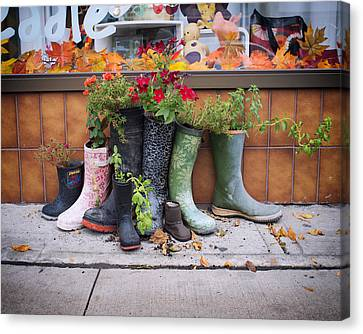 Boot Planters In Toronto's Little Portugal Canvas Print