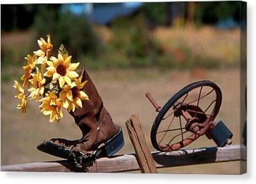 Canvas Print featuring the photograph Boot With Flowers by Ron Roberts