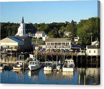 Boothbay Lobster Wharf Maine Canvas Print by Patricia E Sundik