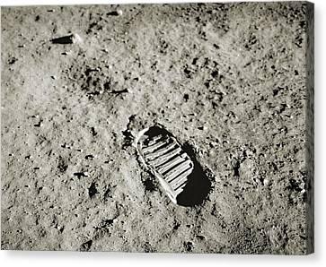 Bootprint On The Moon Canvas Print by Nasa/detlev Van Ravenswaay