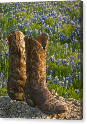 Boots And Bluebonnets Canvas Print by David and Carol Kelly