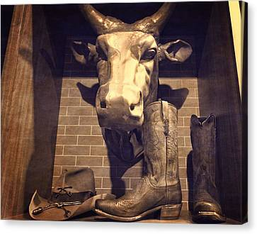 Boots And Bulls Canvas Print by Dan Sproul