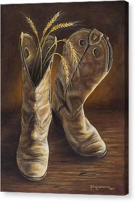Canvas Print featuring the painting Boots And Wheat by Kim Lockman