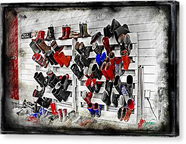 Boots On The Wall Means Kids In The Hall Canvas Print by Cye Gray