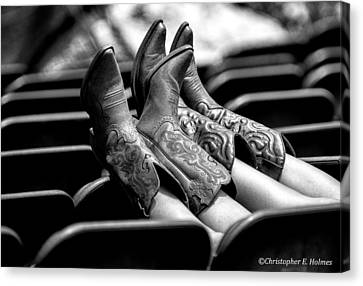 Boots Up - Bw Canvas Print by Christopher Holmes